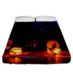Awaiting Halloween Night Fitted Sheet (california King Size) by gothicandhalloweenstore