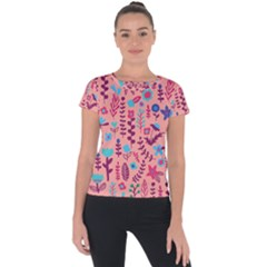 Cute Doodle Flowers 8 Short Sleeve Sports Top  by tarastyle