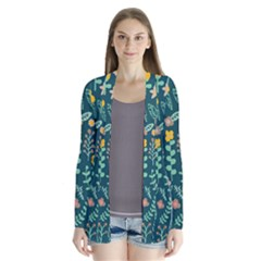 Cute Doodle Flowers 10 Drape Collar Cardigan