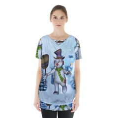 Funny Grimly Snowman In A Winter Landscape Skirt Hem Sports Top by FantasyWorld7