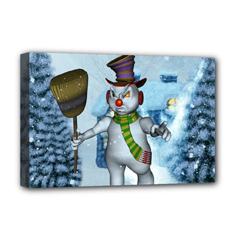 Funny Grimly Snowman In A Winter Landscape Deluxe Canvas 18  X 12   by FantasyWorld7
