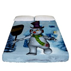 Funny Grimly Snowman In A Winter Landscape Fitted Sheet (california King Size) by FantasyWorld7