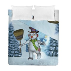 Funny Grimly Snowman In A Winter Landscape Duvet Cover Double Side (full/ Double Size) by FantasyWorld7