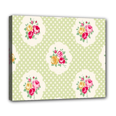 Green Shabby Chic Deluxe Canvas 24  X 20   by 8fugoso