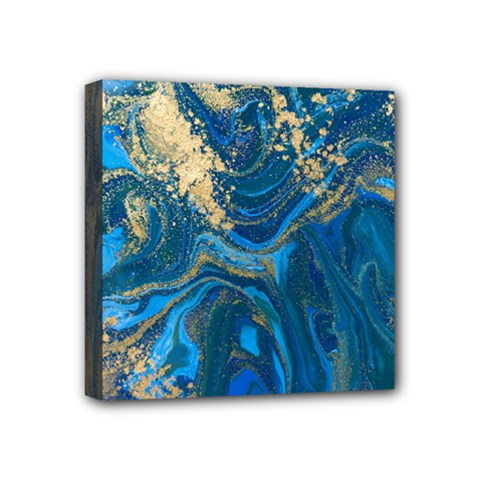 Ocean Blue Gold Marble Mini Canvas 4  X 4  by 8fugoso