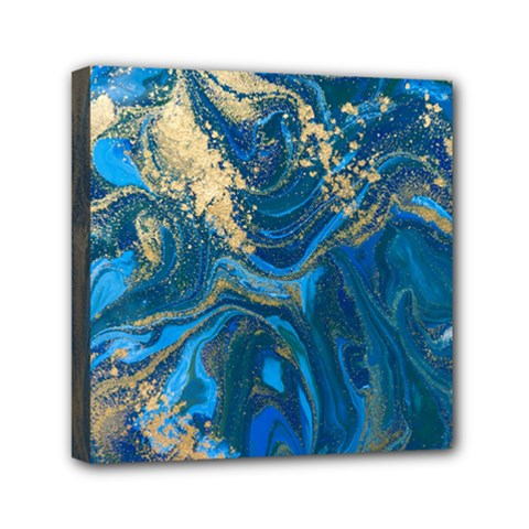 Ocean Blue Gold Marble Mini Canvas 6  X 6  by 8fugoso