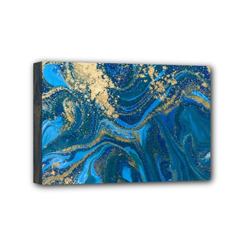 Ocean Blue Gold Marble Mini Canvas 6  X 4  by 8fugoso