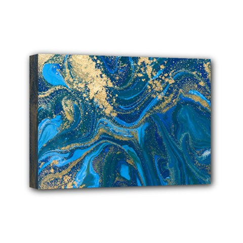 Ocean Blue Gold Marble Mini Canvas 7  X 5  by 8fugoso