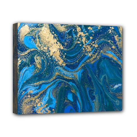 Ocean Blue Gold Marble Canvas 10  X 8  by 8fugoso
