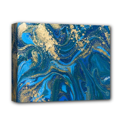Ocean Blue Gold Marble Deluxe Canvas 14  X 11  by 8fugoso