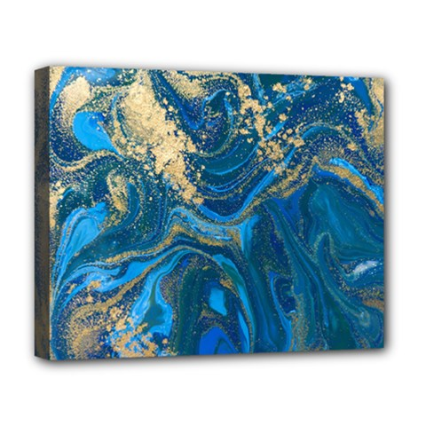 Ocean Blue Gold Marble Deluxe Canvas 20  X 16   by 8fugoso