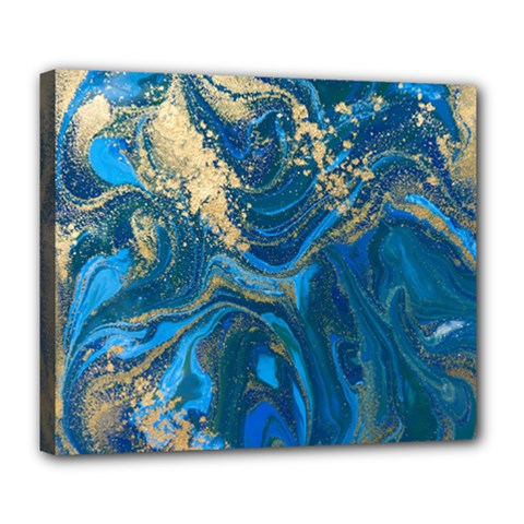 Ocean Blue Gold Marble Deluxe Canvas 24  X 20   by 8fugoso