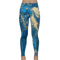 Ocean Blue Gold Marble Classic Yoga Leggings by 8fugoso