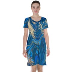 Ocean Blue Gold Marble Short Sleeve Nightdress by 8fugoso