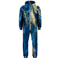 Ocean Blue Gold Marble Hooded Jumpsuit (men)  by 8fugoso