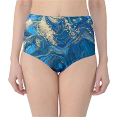 Ocean Blue Gold Marble High Waist Bikini Bottoms by 8fugoso