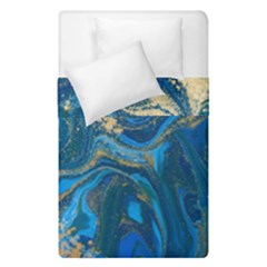Ocean Blue Gold Marble Duvet Cover Double Side (single Size) by 8fugoso