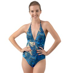 Ocean Blue Gold Marble Halter Cut Out One Piece Swimsuit