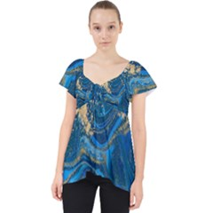 Ocean Blue Gold Marble Lace Front Dolly Top by 8fugoso