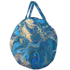 Ocean Blue Gold Marble Giant Round Zipper Tote by 8fugoso