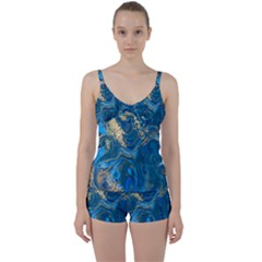 Ocean Blue Gold Marble Tie Front Two Piece Tankini by 8fugoso