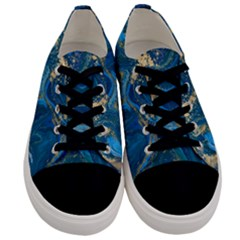 Ocean Blue Gold Marble Men s Low Top Canvas Sneakers