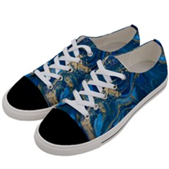 Ocean Blue Gold Marble Women s Low Top Canvas Sneakers by 8fugoso