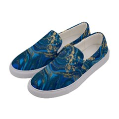 Ocean Blue Gold Marble Women s Canvas Slip Ons by 8fugoso