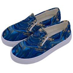 Ocean Blue Gold Marble Kids  Canvas Slip Ons by 8fugoso