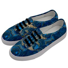 Ocean Blue Gold Marble Men s Classic Low Top Sneakers by 8fugoso