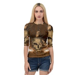 Awesome Skull With Rat On Vintage Background Quarter Sleeve Raglan Tee by FantasyWorld7