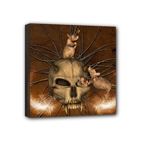 Awesome Skull With Rat On Vintage Background Mini Canvas 4  X 4