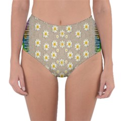 Star Fall Of Fantasy Flowers On Pearl Lace Reversible High-waist Bikini Bottoms by pepitasart