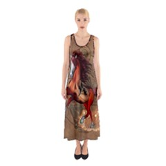 Awesome Horse  With Skull In Red Colors Sleeveless Maxi Dress by FantasyWorld7