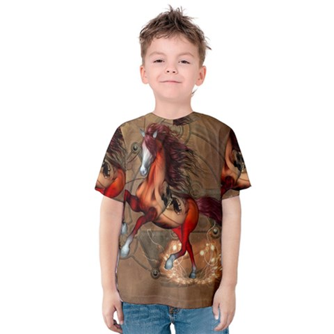 Awesome Horse  With Skull In Red Colors Kids  Cotton Tee by FantasyWorld7