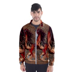 Awesome Horse  With Skull In Red Colors Wind Breaker (men) by FantasyWorld7