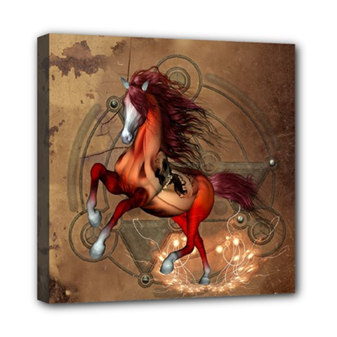 Awesome Horse  With Skull In Red Colors Mini Canvas 8  X 8  by FantasyWorld7