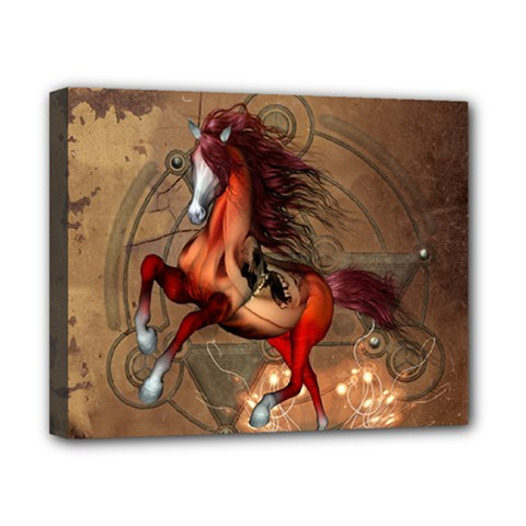 Awesome Horse  With Skull In Red Colors Canvas 10  X 8  by FantasyWorld7
