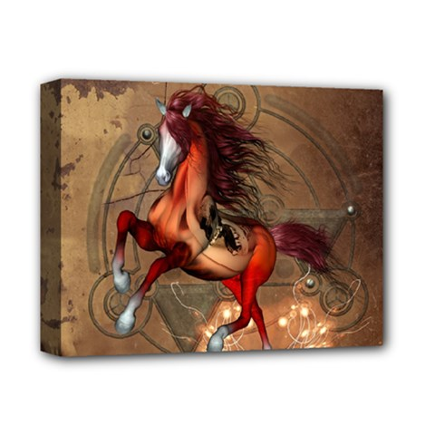 Awesome Horse  With Skull In Red Colors Deluxe Canvas 14  X 11  by FantasyWorld7