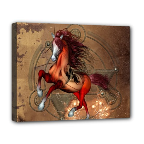 Awesome Horse  With Skull In Red Colors Deluxe Canvas 20  X 16   by FantasyWorld7