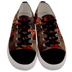 Awesome Horse  With Skull In Red Colors Men s Low Top Canvas Sneakers