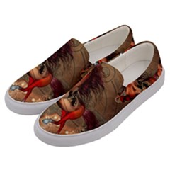 Awesome Horse  With Skull In Red Colors Men s Canvas Slip Ons by FantasyWorld7