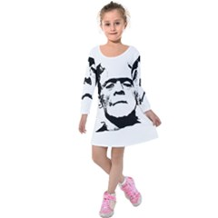 Frankenstein s Monster Halloween Kids  Long Sleeve Velvet Dress by Valentinaart