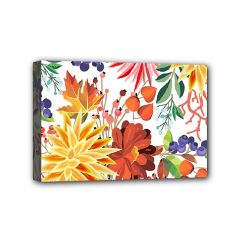 Autumn Flowers Pattern 1 Mini Canvas 6  X 4  by tarastyle