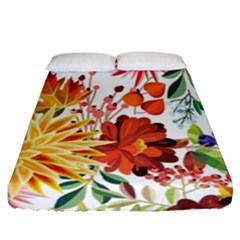 Autumn Flowers Pattern 1 Fitted Sheet (queen Size) by tarastyle