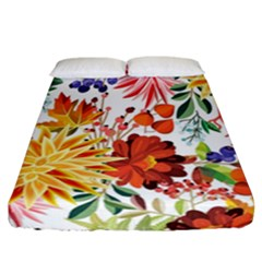 Autumn Flowers Pattern 1 Fitted Sheet (california King Size) by tarastyle