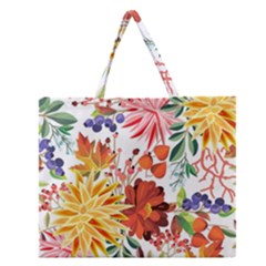 Autumn Flowers Pattern 1 Zipper Large Tote Bag by tarastyle