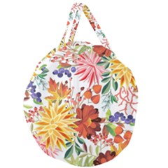 Autumn Flowers Pattern 1 Giant Round Zipper Tote by tarastyle