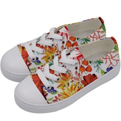 Autumn Flowers Pattern 1 Kids  Low Top Canvas Sneakers by tarastyle