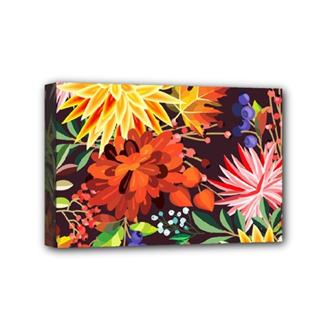 Autumn Flowers Pattern 2 Mini Canvas 6  X 4  by tarastyle